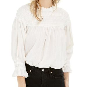 NWT Free People OB Mila Smocked Tunic Top in Ivory